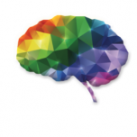 A pixelated illustration of a human brain in rainbow colors.