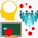 Illustration featuring abstract image of a head and a group of people with red thought bubbles. Also a chalkboard and apple.
