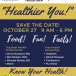 Michigan deaf health fair flyer save the date Oct 27 9AM-6PM Madonna University