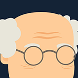Graphic of older man with eyeglasses