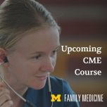"""Woman with stethoscope. Image reads """"Upcoming CME Course"""""""