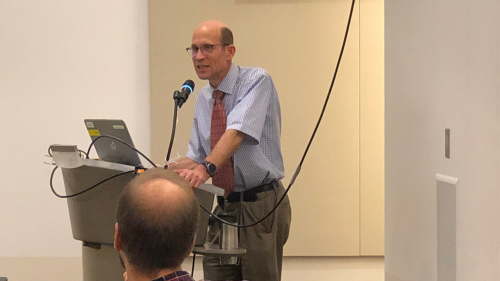 Richard Auchus, MD, PhD speaking at a diabetes lecture series