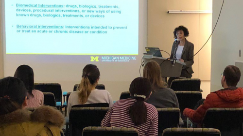 Rodica Busui, MD, PhD speaking at a diabetes lecture series