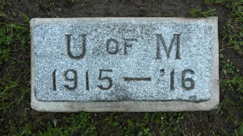 Fairview Cemetery U of M gravestone 1915-16