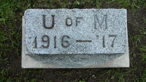 Fairview Cemetery U of M gravestone 1916-17