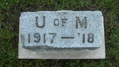 Fairview Cemetery U of M gravestone 1917-18