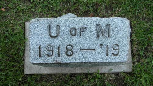 Fairview Cemetery U of M gravestone 1918-19