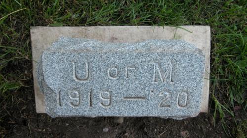 Fairview Cemetery U of M gravestone 1919-20
