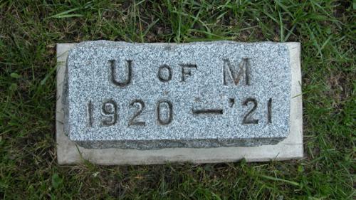 Fairview Cemetery U of M gravestone 1920-21