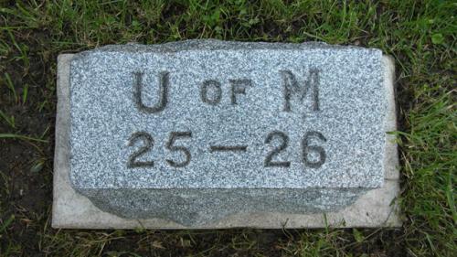 Fairview Cemetery U of M gravestone 1925-26