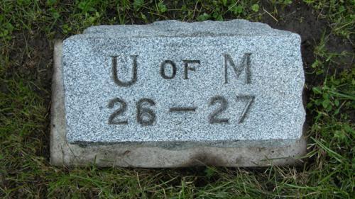 Fairview Cemetery U of M gravestone 1926-27
