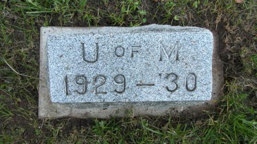 Fairview Cemetery U of M gravestone 1929-30