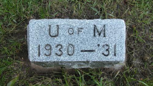 Fairview Cemetery U of M gravestone 1930-31