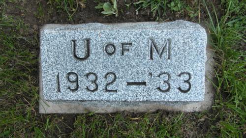 Fairview Cemetery U of M gravestone 1932-33