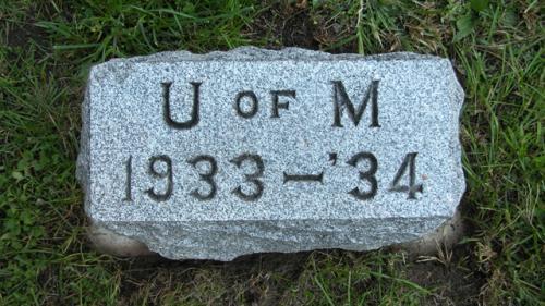 Fairview Cemetery U of M gravestone 1933-34