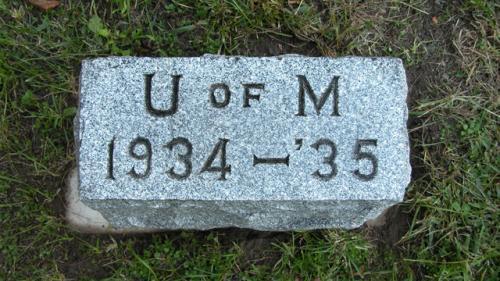 Fairview Cemetery U of M gravestone 1934-35