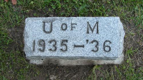Fairview Cemetery U of M gravestone 1935-36