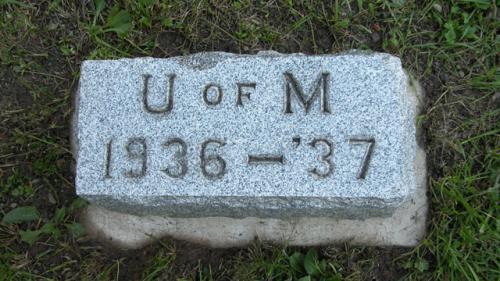 Fairview Cemetery U of M gravestone 1936-37