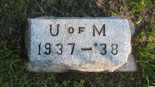 Fairview Cemetery U of M gravestone 1937-38