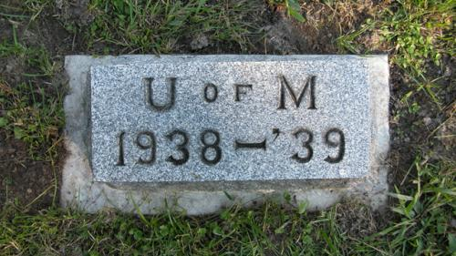 Fairview Cemetery U of M gravestone 1938-39