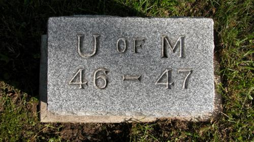 Fairview Cemetery U of M gravestone 1946-47