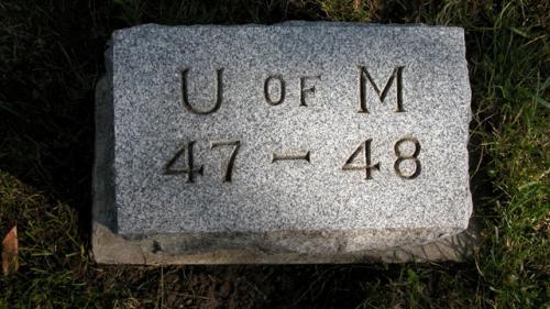 Fairview Cemetery U of M gravestone 1947-48