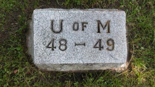 Fairview Cemetery U of M gravestone 1948-49