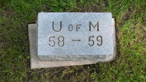 Fairview Cemetery U of M gravestone 1958-59