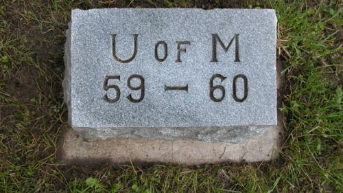 Fairview Cemetery U of M gravestone 1959-60