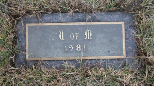 United Memorial Gardens U of M Gravestone 1981
