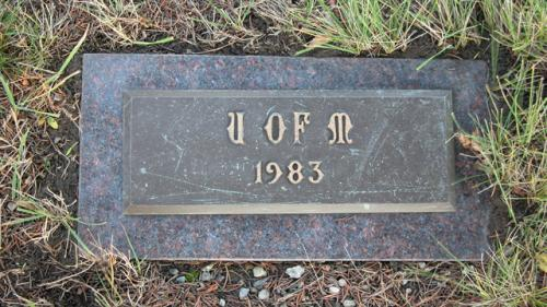 United Memorial Gardens U of M Gravestone 1983