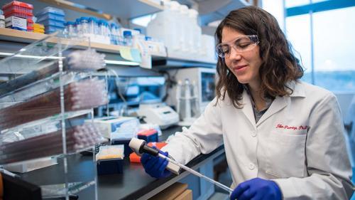 Dr. Jillian Pearring in her lab at the Kellogg Eye Center