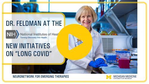 Cover graphic for Dr. Eva Feldman's recap of the NIH Long Covid Symposium
