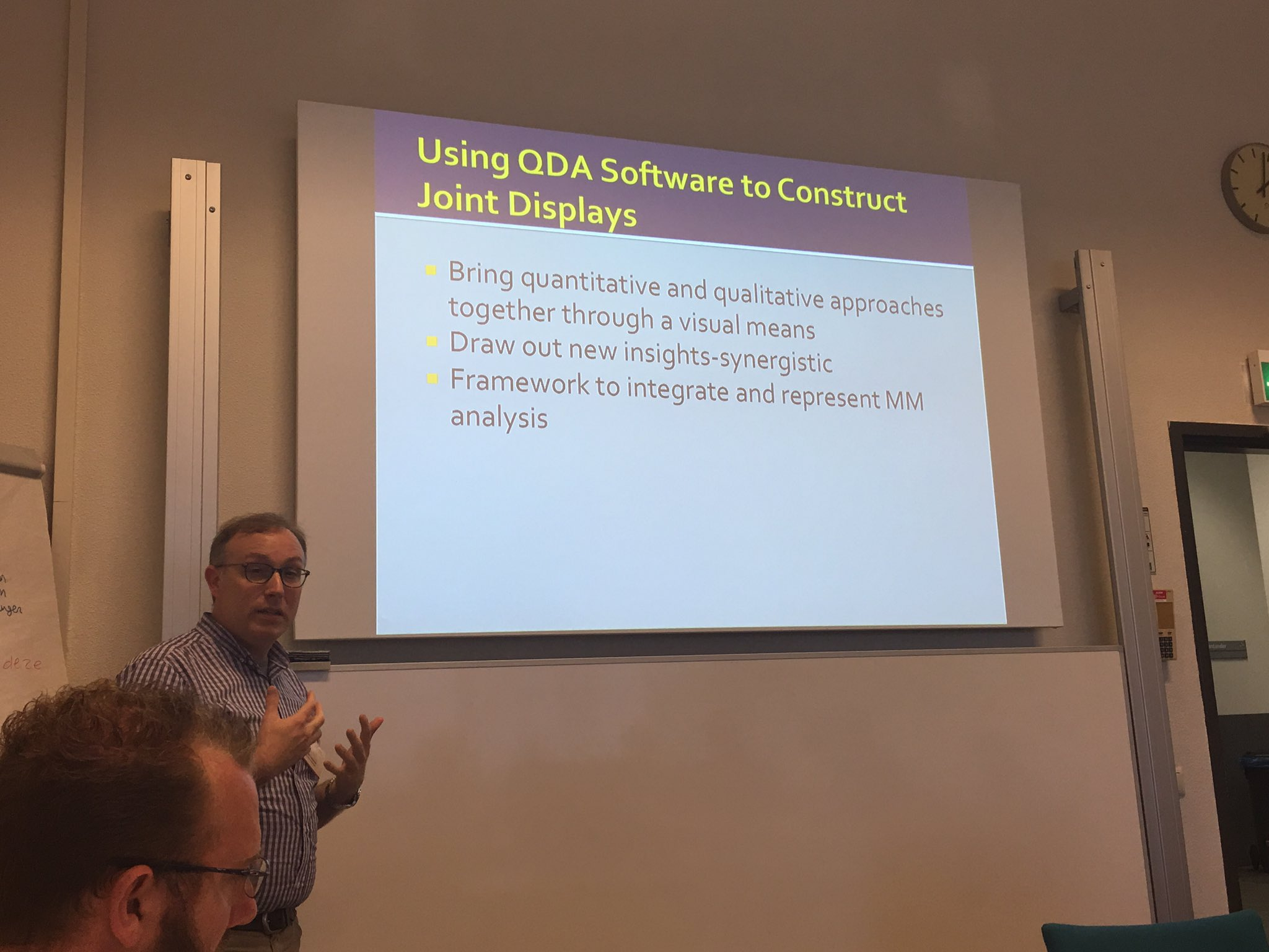 image of timothy guetterman giving presentation on QDA software at KWALON conference in