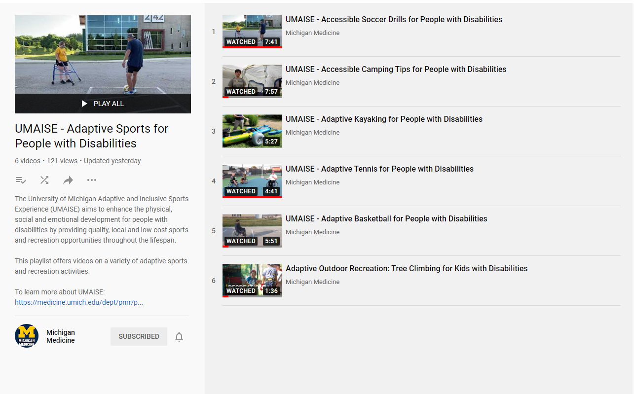 screen grab view of UMAISE's youtube playlist. click to see playlist on youtube's website.